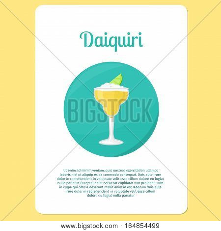 Daiquiri cocktail menu item or sticker. Party drink in circle icon vector illustration