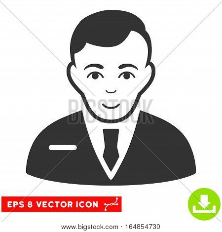 Vector Businessman EPS vector pictogram. Illustration style is flat iconic gray symbol on a transparent background.