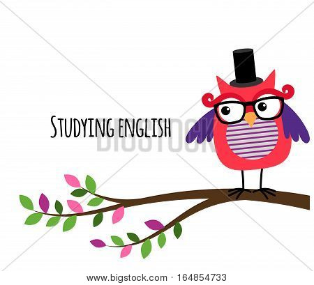Clever Owl studying English vector banner for education website