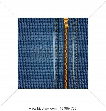 Denim with zipper icon. Jeans cotton textile and texture theme. Isolated design. Vector illustration