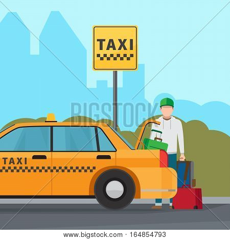 Taxi city transportation service vector concept colorful illustration
