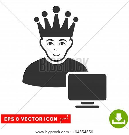 Vector Computer Moderator EPS vector pictograph. Illustration style is flat iconic gray symbol on a transparent background.