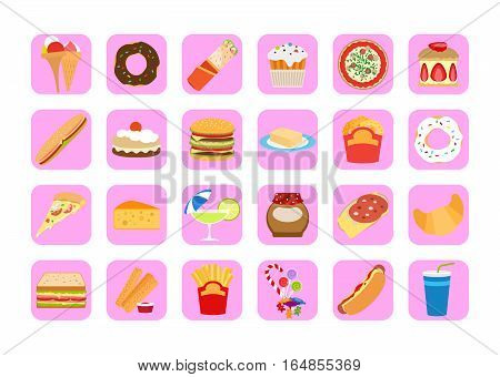 Sweets icons. Fatty food vector set for app design