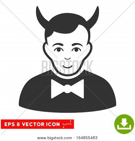 Vector Devil EPS vector pictograph. Illustration style is flat iconic gray symbol on a transparent background.