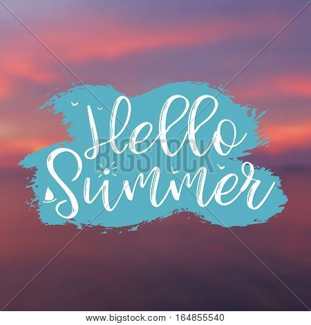 Hello Summer card with Sunset Background and Lettering Hello Summer. Can be used for poster, flyer, postcard, banner. Vector Illustration.