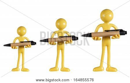 Row of Figures Holding Pens on White Background