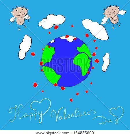 Happy Valentines day cupidon vector illustration earth