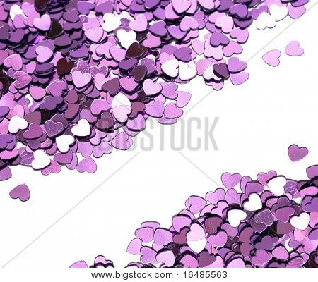 many celebration hearts on white background