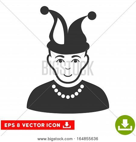 Vector Fool EPS vector icon. Illustration style is flat iconic gray symbol on a transparent background.