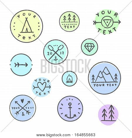 Set of hipater badges. Camping tribal etc. Line art.