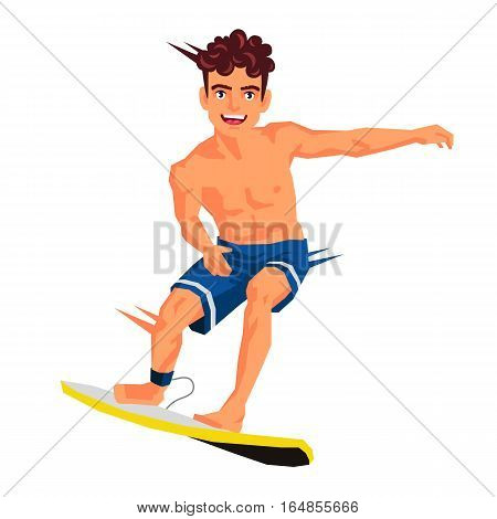 Cool surfer. Vector illustration on white background. Sports concept.