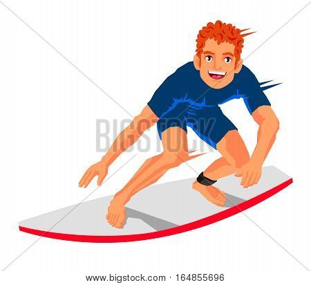 Young surfer standing on the board. Vector illustration on white background. Sports concept.