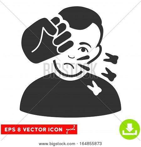 Vector Head Strike EPS vector icon. Illustration style is flat iconic gray symbol on a transparent background.
