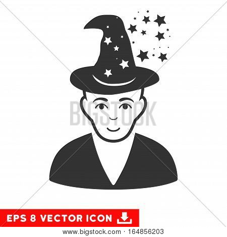 Vector Magic Master EPS vector pictogram. Illustration style is flat iconic gray symbol on a transparent background.