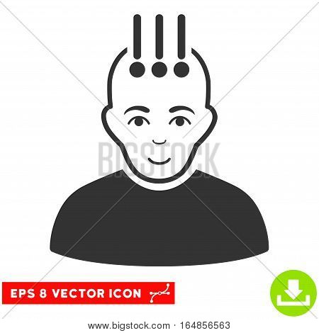 Vector Neural Interface EPS vector icon. Illustration style is flat iconic gray symbol on a transparent background.