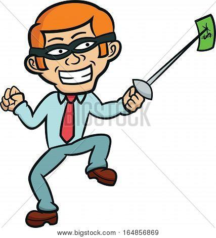 Masked Businessman Stabbing Money with Fencing Sword Cartoon Illustration