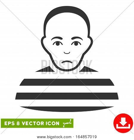 Vector Prisoner EPS vector pictograph. Illustration style is flat iconic gray symbol on a transparent background.