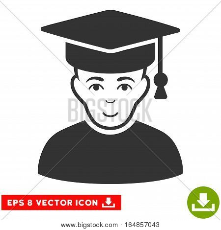 Vector Professor EPS vector pictogram. Illustration style is flat iconic gray symbol on a transparent background.