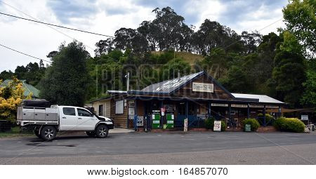 Dargo Australia - December 25 2016. Dargo General Store was first established in 1923. Dargo is a historic town in Victoria Australia an entry point for the Alpine National Park.