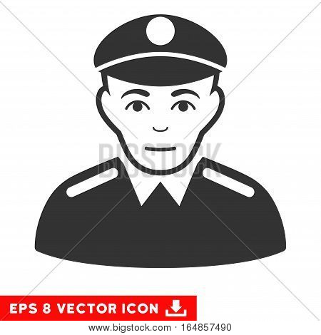 Vector Soldier EPS vector pictograph. Illustration style is flat iconic gray symbol on a transparent background.