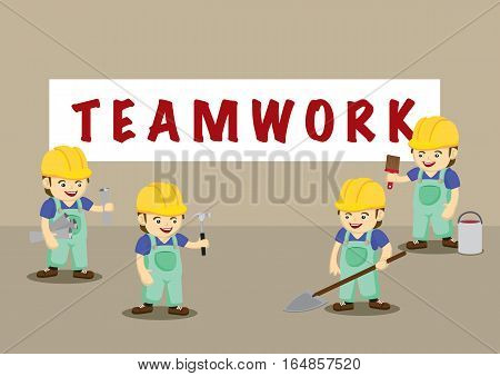 A team of happy worker characters wearing yellow helmet and overall work clothes holding different work tools under Teamwork banner.