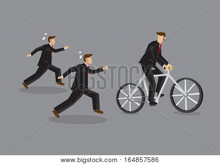 Cartoon businessman riding on bicycle looking back at coworkers running to keep up and be on par. Vector business illustration on having an advantage to make job easier concept.