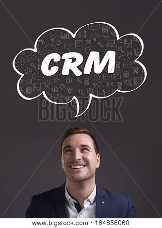 Business, Technology, Internet And Marketing. Young Businessman Thinking About: Crm