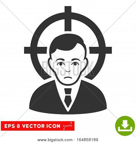 Vector Victim Businessman EPS vector pictogram. Illustration style is flat iconic gray symbol on a transparent background.