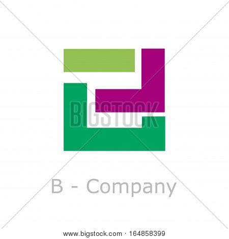 Vector sign abstract broken letter B, isolated illustration on white