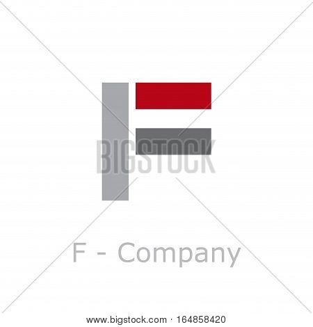 Vector sign abstract broken letter F, isolated illustration on white