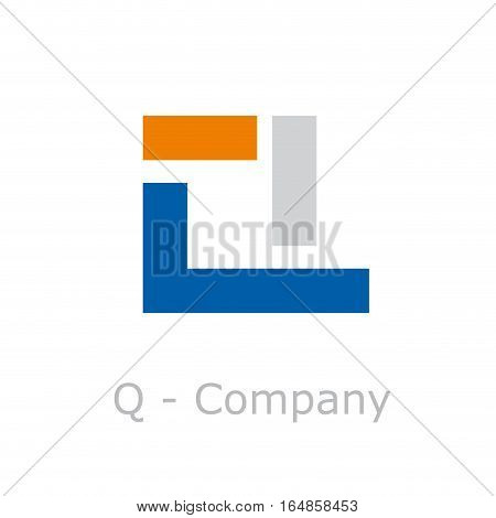 Vector sign abstract broken letter Q, isolated illustration on white