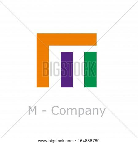 Vector sign abstract broken letter M, isolated illustration on white