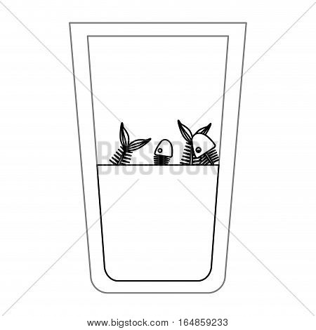Fish inside dirty water glass icon. Pollution environment and ecology  theme. Isolated design. Vector illustration