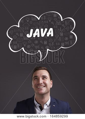 Business, Technology, Internet And Marketing. Young Businessman Thinking About: Java