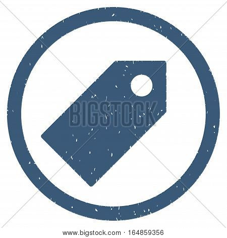 Tag rubber seal stamp watermark. Icon vector symbol with grunge design and dust texture. Scratched blue ink sign on a white background.