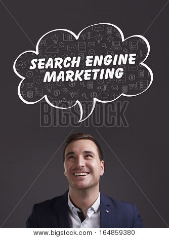 Business, Technology, Internet And Marketing. Young Businessman Thinking About: Search Engine Market