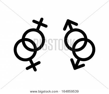 Vector gay LGBT love symbols. Homosexual sign, community lesbian illustration