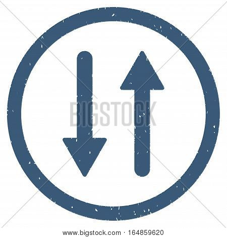 Vertical Exchange Arrows rubber seal stamp watermark. Icon vector symbol with grunge design and corrosion texture. Scratched blue ink sticker on a white background.