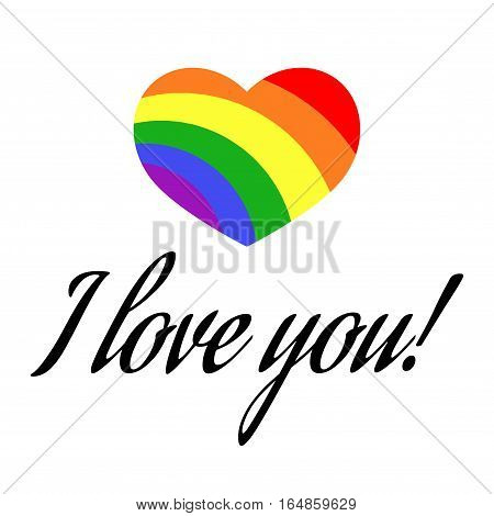Vector gay LGBT rainbow love Valentine greeting card. Love gay concept illustration