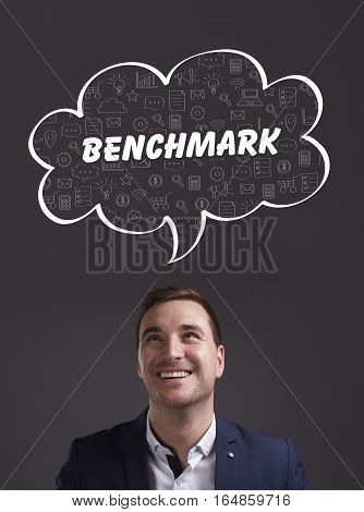 Business, Technology, Internet And Marketing. Young Businessman Thinking About: Benchmark