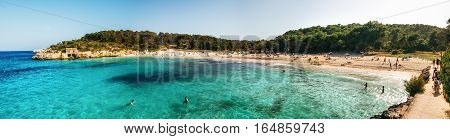 Mondrago, Mallorca, Spain - May 25, 2015: Panoramic view of sAmarador beach in Cala Mondrago Natural Park of Mallorca Balearic Island Spain