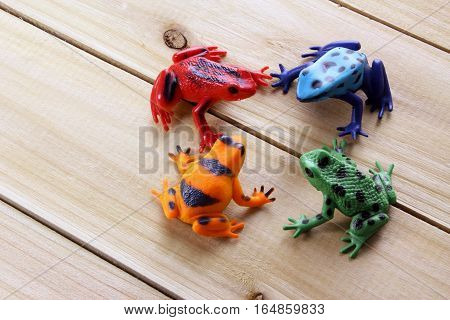 Plastic Toy Frogs on a Wooden Background