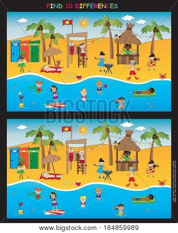 illustration of game for children, beach scene: find ten differences