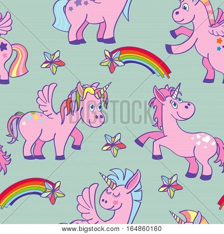 Pastel colored vector hand drawn unicorns seamless pattern. Background miracle and fantasy illustration