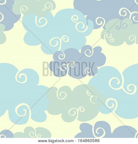 Pastel colored vector hand drawn clouds seamless pattern. Cumulus clouds illustration
