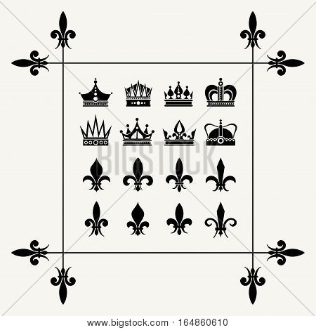 Geraldic crowns and fleur de lys design elements. Art royal symbol vector illustration