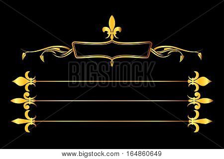 Golden vector fleur de lys frame and borders black background. Elegance element fashion illustration