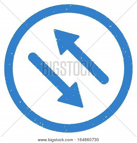 Diagonal Flip Arrows rubber seal stamp watermark. Icon vector symbol with grunge design and unclean texture. Scratched cobalt ink emblem on a white background.