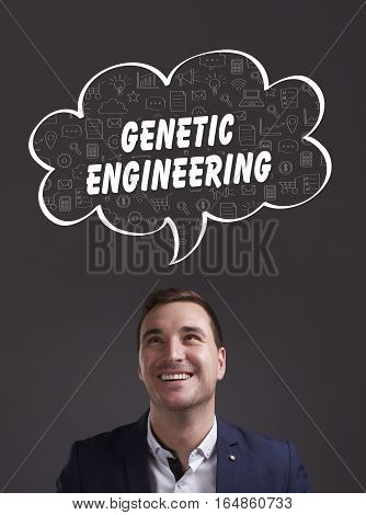 Business, Technology, Internet And Marketing. Young Businessman Thinking About: Genetic Engineering