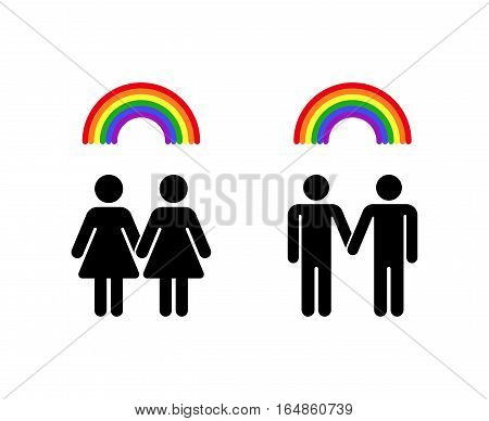 Vector rainbow gay homosexual love and lesbian romantic emblem illustration